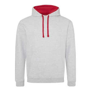 Felpa Hoodie a contrasto heather grey fire red