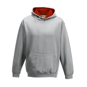 Felpa Hoodie Kids a Contrasto heather grey fire red