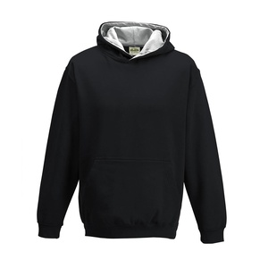 Felpa Hoodie Kids a Contrasto jet black heather grey