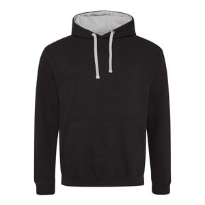 Felpa Hoodie a contrasto jet black heather grey